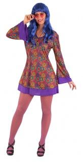 Karneval Klamotten Kostüm Set Hippie Kleid Dame Multi mit Peace-Kette Fasching