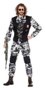 Soldat Soldaten Kostüm Herren Militär Armee Uniform grau Fasching Karneval KK