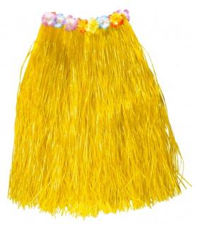 Hawaii Rock Kostüm Karibik Bastrock gelb lang Damenkostüm Karneval Sommerparty