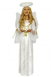 Engelskostüm Engel Kostüm Kinder Mädchen Kinderkostüm Kleid weiß-gold KK
