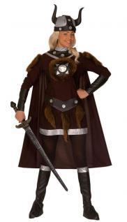 Wikinger-Kostüm Damen mit Umhang Nordmann-Kostüm mit Wikinger Helm Damen-Kostüm