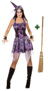 Hexenkostüm Damen Spinne Hexe mit Hexenhut und Hexenbesen Halloween Damenkostüm