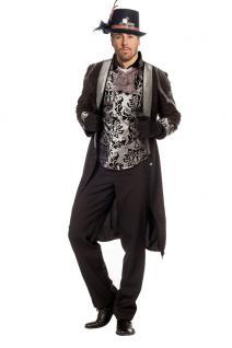 Steampunk Kostüm Herren Mantel Viktorianisch Herren-Kostüm schwarz silber KK