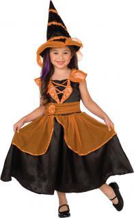 Kinder Geburtstag Party Kostüm Set: Hexe Kleid Mädchen orange-schwarz + Hexenhut