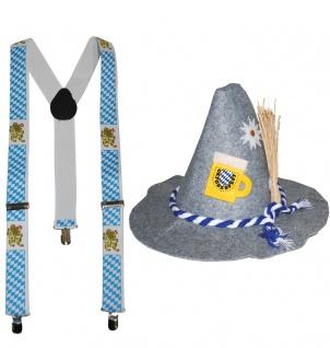 Seppl Hut Trachten Hut Bayern Hut Tiroler Hut Oktoberfest grau Hut Hosenträger