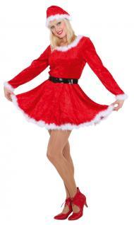 Weihnachtsmann Kostüm Weihnachtsfrau Nikolaus Dame Kleid 2-tlg. Damenkostüm KK