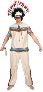 Indianer Kostüm Häuptling Herren-Kostüm beige blau Karneval KK
