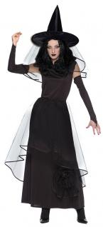 Horror Hexen-Kostüm Damen Zombie Hexe Zauberin Magierin Hexenkleid lang schwarz