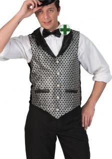 Faschingsweste Disco Weste Herren silber mit Fliege Silvester Fasching Kostüm KK