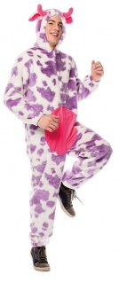 Kuh Kostüm Herren lila weiß Plüsch Kuh-Overall Milka Tier Herrenkostüm Karneval