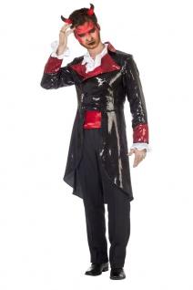 Teufel Kostüm Halloween Herren Teufels-Frack Pailletten Fasching Karneval KK