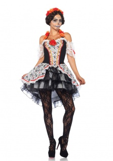 Tag der Toten Kostüm Dia de Los Muertos Kostüm Luxus Halloween Damen Kostüm KK
