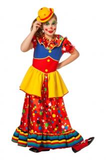 Clown Kostüm Mädchen langes buntes Kleid Harlekin Zirkus Kinderkostüm Fasching K