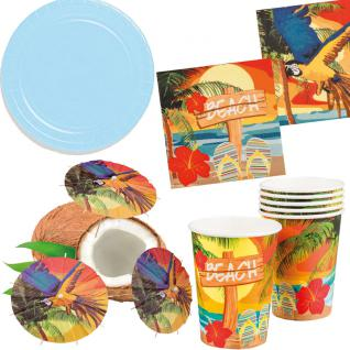 Party Set Hawaii Beach blau 32 St.: Teller, Becher, Servietten, Cocktail-Schirmchen