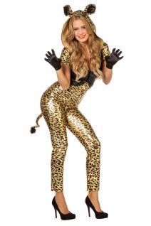 Karneval Klamotten Kostüm Sexy Panther gold Karneval Tiger Damenkostüm