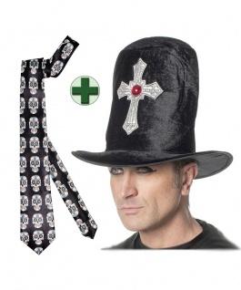 Hut Vampir-Zylinder Dracula-Hut mit Kreuz mit Krawatte Totenköpfe Halloween KK - Vorschau
