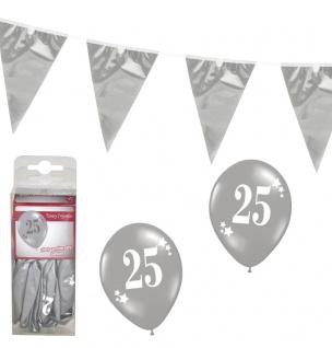 Silberne Hochzeit Raumdeko Party Set : Wimpelkette, Ballons