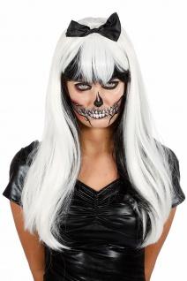 Zombie Perücke schwarz weiß Horror Perücke Fliege Damenperücke Halloween KK