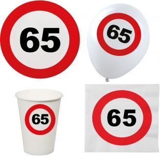 Party Set XL 44 Teile Geburtstag 65 Jahre Verkehrsschild