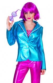 Disco Jacke Karneval Damen Kostüm blau Show Party Pop Fasching Karneval KK