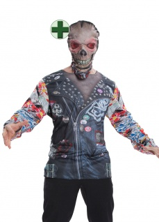 Fotorealistisch Shirt Horror Zombie Halloween-Kostüm Fasching Karneval KK