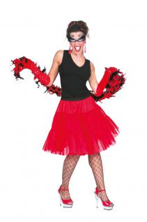 Karneval Klamotten Kostüm Petticoat Show rot Show Damenkostüm Einheitsgröße