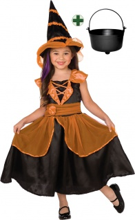 Hexenkostüm Kinder Hexe orange-schwarz Hexenhut Hexenkessel Halloween Kostüm KK
