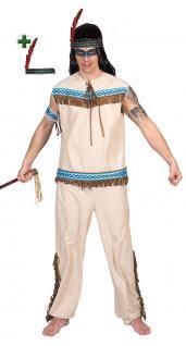 Indianer Kostüm Häuptling mit Stirnband Herren-Kostüm beige blau Karneval KK