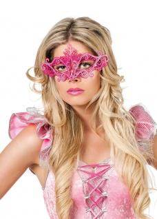 Venezianische Maske Metall pink rosa Augenmaske Damen Maskenball Fasching KK