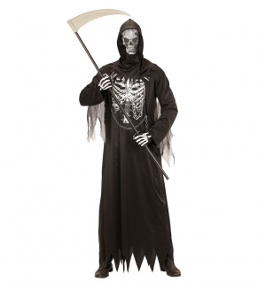 Sensenmann Kostüm Skelett für Kinder Der Tod mit Sense Halloween Kinder-Kostüm K