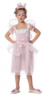 Fee Kostüm Kinder Elfe Mädchen rosa mit Flügeln Märchen Fasching Karneval KK