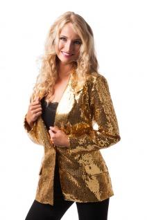 Pailletten-Jacke Disco-Jacke 70er 80er Jahre Weste gold Karneval Damen-Kostüm