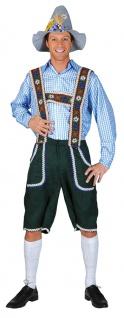Oktoberfest Hemd Kostüm Trachten blau weiss kariert Herren Bayernhemd Tirol KK