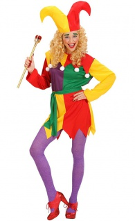 Narren Clown Kostüm Damen buntes Clownkostüm Harlekin Damenkostüm Karneval KK