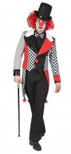 Pierrot Kostüm Herren Narren schwarz weiß rot Frack Fasching Karneval KK
