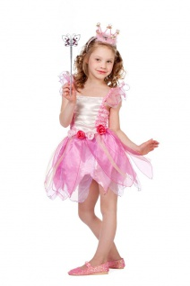 Kinder Geburtstag Party Kostüm Set: Fee Kleid rosa INKL. Feenstab Schmetterling