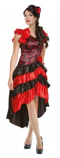 Spanierin Kostüm Damen Flamenco Tänzerin Kleid mit Haarklammer Fasching Karneval