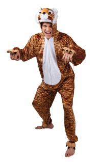 Tiger Kostüm Herren Plüsch Overall mit Kapuze Tierkostüm Fasching Karneval KK