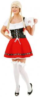 Oktoberfest Dirndl Kostüm Kleid rot-schwarz Trachtenkleid Damen Dirndl Tirol KK