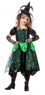 Hexenkostüm Kinder Hexe Mädchen Kostüm grün schwarz Halloween Mädchenkostüm KK