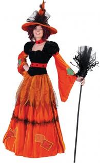 Halloween Hexenkostüm Damen Zauberin Märchen-Hexe orange schwarz Fasching KK