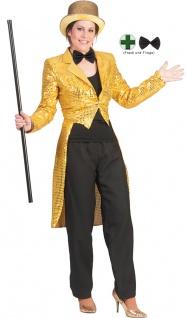 Karneval Klamotten Kostüm Frack Pailletten gold mit Fliege schwarz Show Party
