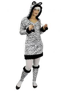 Zebra Kostüm Damen Zebra Kleid Damen mit Kapuze mit Ohren Tier-Kostüm Karneval K