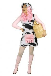 Kuh Kostüm Kleid Plüsch Damen mit Hut Tierkostüm Fasching Karneval KK