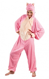 Schwein Kostüm Damen Plüsch Schwein-Overall rosa Tier Schweinchen Damenkostüm KK - Vorschau