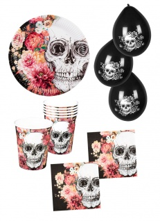 Horror Totenkopf Party Set Halloween La Catrina Tischdeko Partygeschirr Ballons