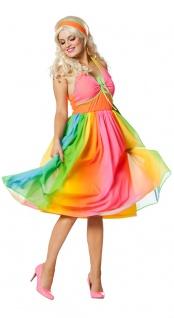 60er Jahre Hippie Flower-Power Kostüm Damen Regenbogen Woodstock Karneval KK