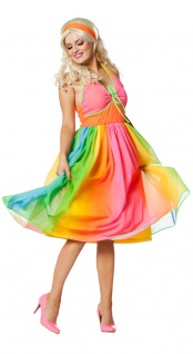 70er Jahre Kostüm Hippie Damen Regenbogen Woodstock Retro Fasching Karneval KK