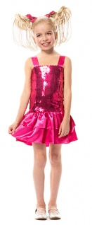 Disco Kostüm Mädchen Pailletten rosa Popstar Mädchenkostüm Fasching Karneval KK