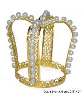 Karneval Klamotten Kostüm Krönchen Prinzessin gold mit Perlen Märchen Karneval